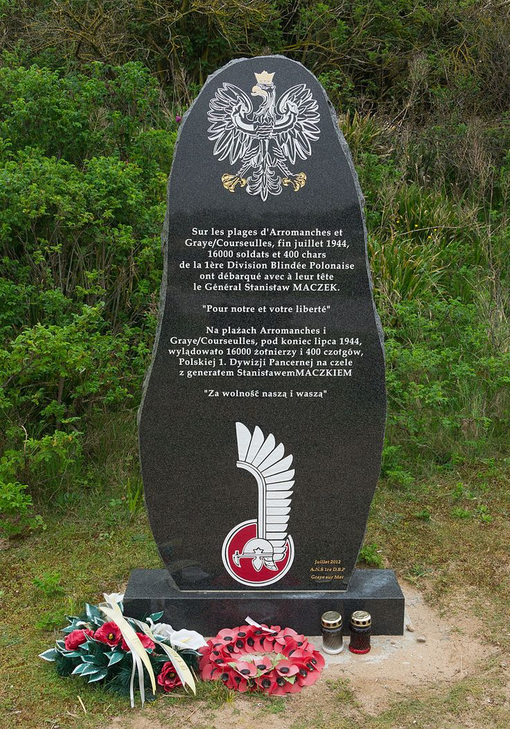 D-day Monument for the 1st Armoured Polish Division at Courseulles-sur-Mer, Normandy - 1 Dywizja Pancerna (PSZ) – Wikipedia, wolna encyklopedia