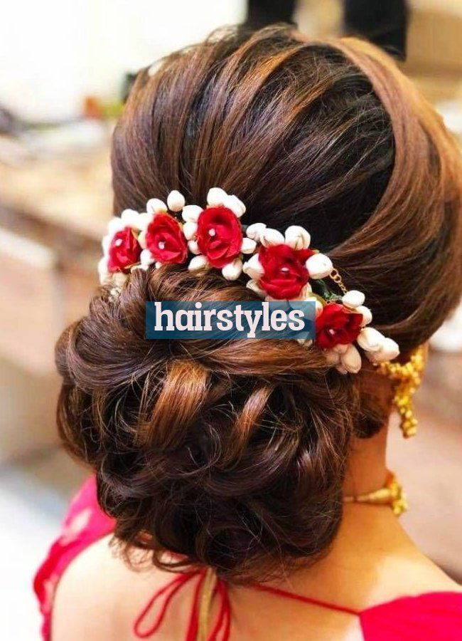 Hairstyle On Saree Wedding Hairstyle On Saree In 2020 Saree Hairstyles Open Hairstyles Hair Styles