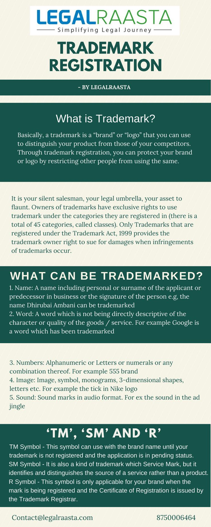 Trademark registration protects your brand & logo. LegalRaasta is top trademark consultant in Delhi NCR, Mumbai, Bengaluru & India @ Rs 1499 only Email: contact@legalraasta.com Contact No: 8750006464 https://www.legalraasta.com/trademark-registration/ #trademarkregistration #trademarkfiling #Trademarkapplication #Trademarkregistrationform #Trademarkregistrationonline #Registerlogo #TrademarkregistrationinIndia #Trademarkregistrationprocedure