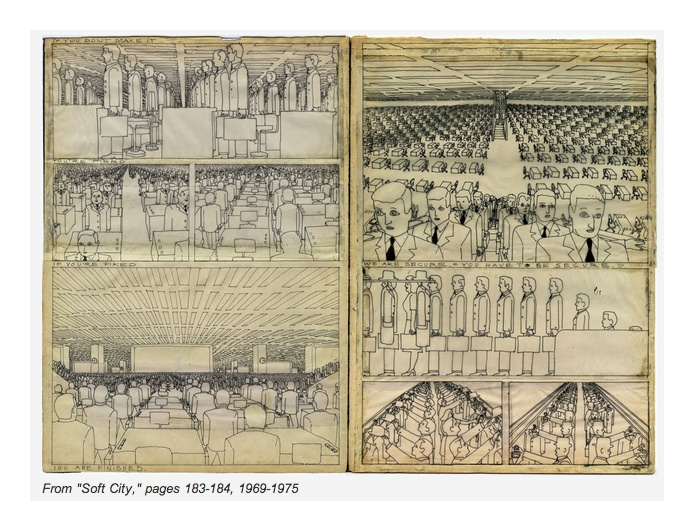 """Pushwagner: Soft City exhibition Exhibitions / Rotterdam / 23 February - 26 May. The museum will showcase three series from Pushwanger, beginning with """"Soft City,"""" detailed drawings of modern life in the city."""