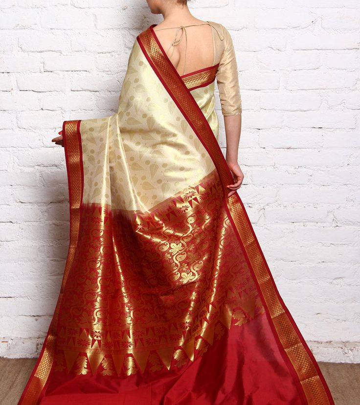 Off White & Red Kanjivaram Silk Saree