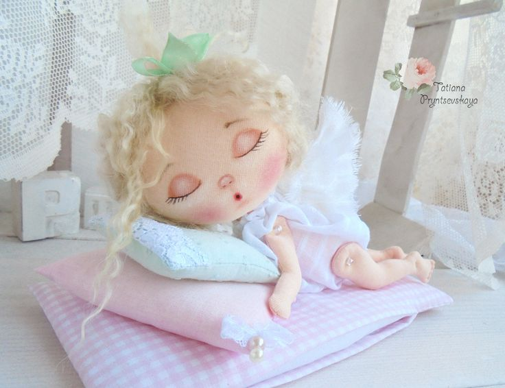 Art doll, fabric doll, Soft doll, rag doll, textile doll, interior doll, doll, cloth doll, home decor, little angel, sleeping doll by PrincessDollArt on Etsy