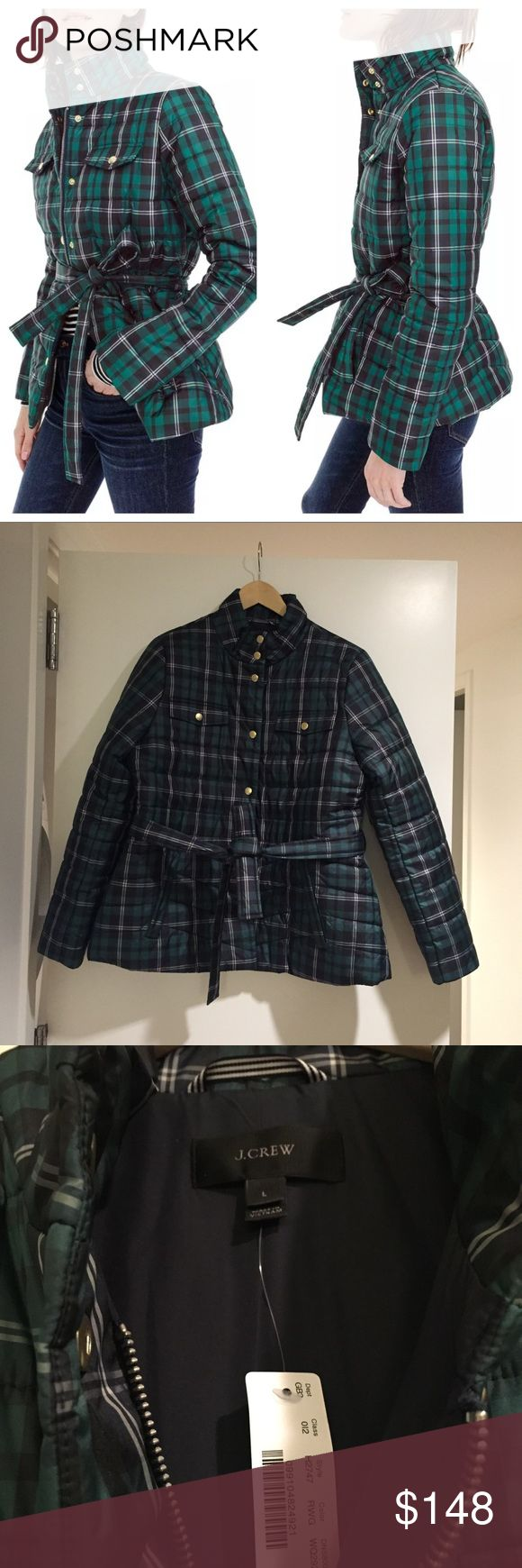 """J.Crew Plaid Belted Puffer Jacket A slim-fitting puffer that's super-warm, ultra-stylish and incredibly flattering.  From Fall/Winter 2017/2018 and sold out! Approx 27"""" length. Front zip closure with snap placket; tie belt at waist. Stand collar. Lined. 100% polyester. Machine wash, tumble dry. J. Crew Jackets & Coats"""