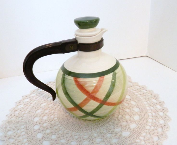 Tam O'Shanter Vintage Carafe - Vernonware California Pottery - Green Plaid- Beverage Server with Stopper by momsfavoriteshop on Etsy