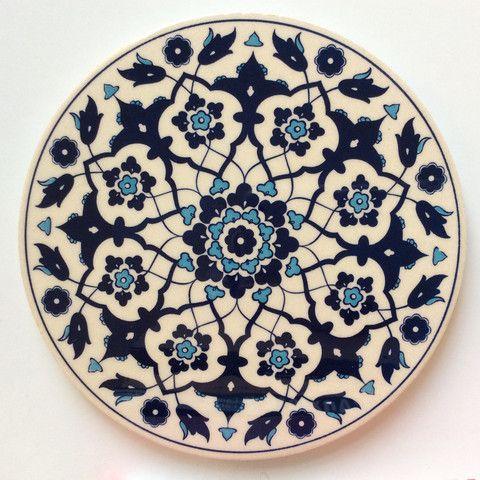 White and Blue Ceramic Trivet - Sophie's Bazaar - 1