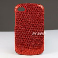 Hard Bling Skin Case Cover For BB BlackBerry Q10 Red + Screen Protector