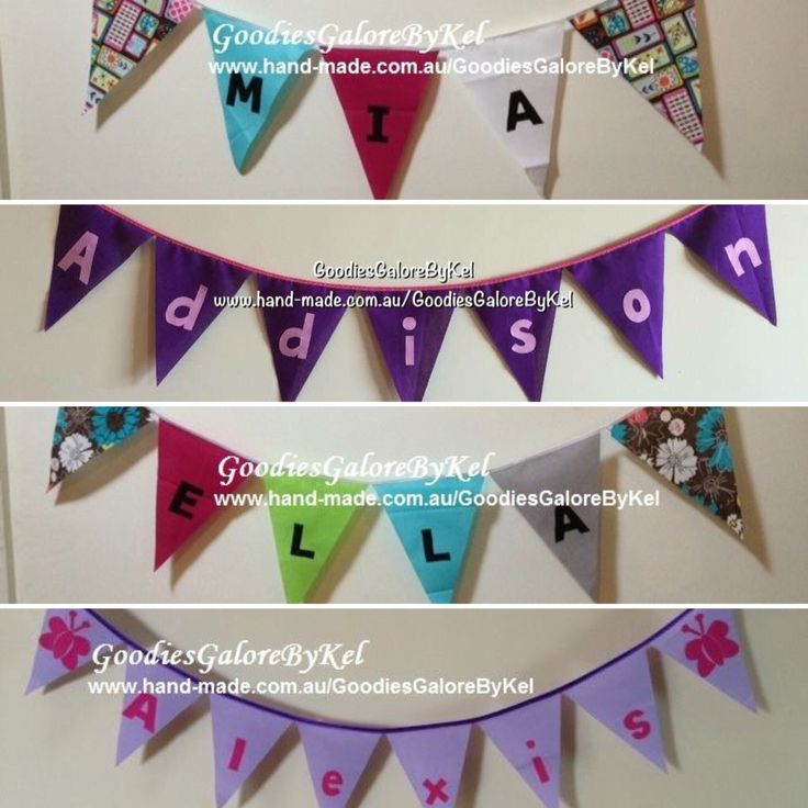 How about a name bunting for your child's door, bed head, wall, party etc ** available in any colours of choice ** $20 each (free post) ~~ inbox me to place an order or visit my shop listing here: https://www.hand-made.com.au/listing/83167/childrens_name_bunting  #bunting #kids #boys #girls #decoration #banner #party #pretty #handmadecomau #handmade #handmadeaus #handmadeinaustralia #aussiehandmade #hmaus #handmadekids #baby #goodiesgalorebykel