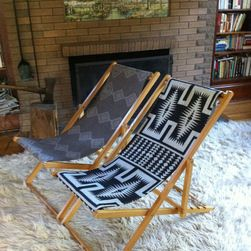 Vintage Reclining Wood Deck Chair by Indian VS Indian - A set of vintage wooden deck chairs with gorgeous Pendleton fabric seats would be a great pop of pattern in my otherwise simple abode.