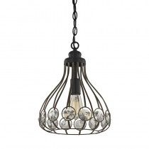 Elk Lighting 81105/1 Crystal Web 1 Light Penant In Bronze Gold And Matte Black With Clear Crystal