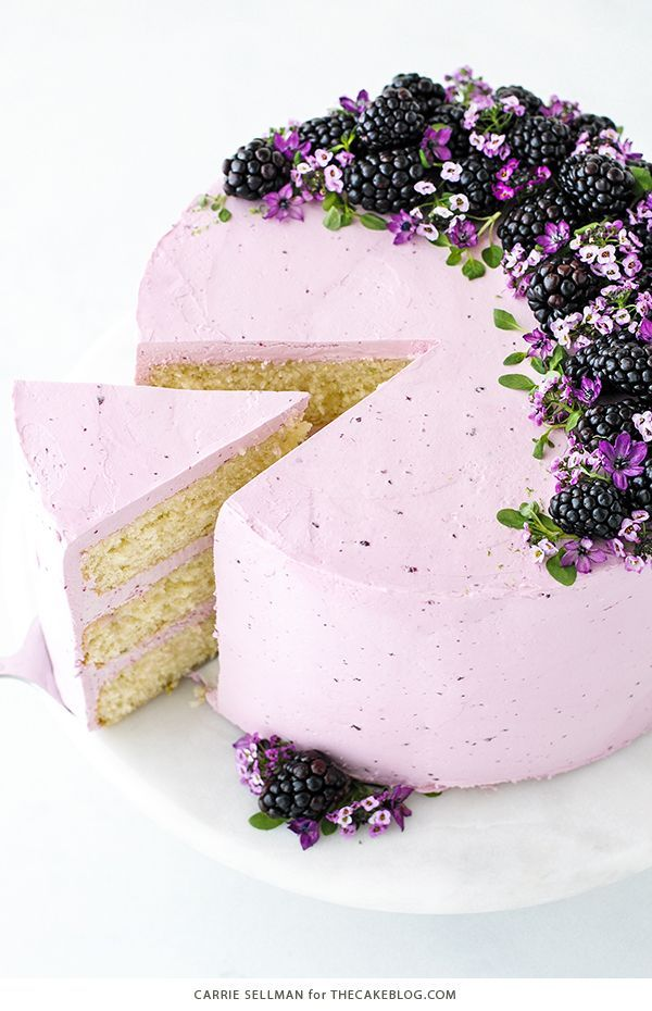 Blackberry Lime Cake - tender cake infused with lime zest, frosted with blackberry buttercream, topped with fresh blackberries and edible flowers | by Carrie Sellman for The Cake Blog | AD @bobsredmill BobsSpringBaking