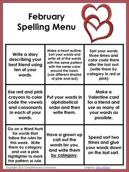 Attach this menu to your weekly spelling sort and let your students choose their homework option for the night.