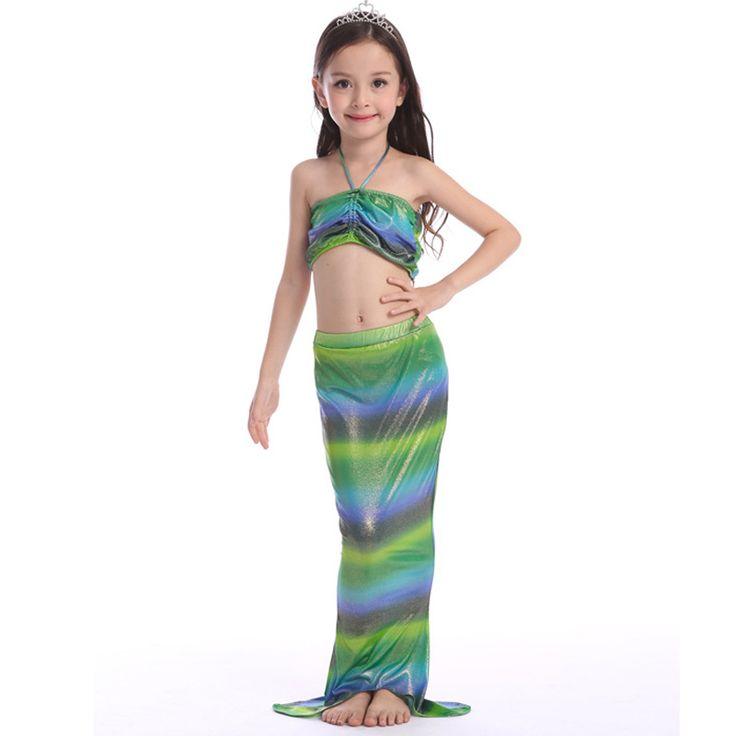 Girl Mermaid Tail Custome Girl Kids Mermaid Tail Fancy Costumes Dress Swimmable Bikini Set Bathing Suit Top+Short+Mermaid Tail #Affiliate