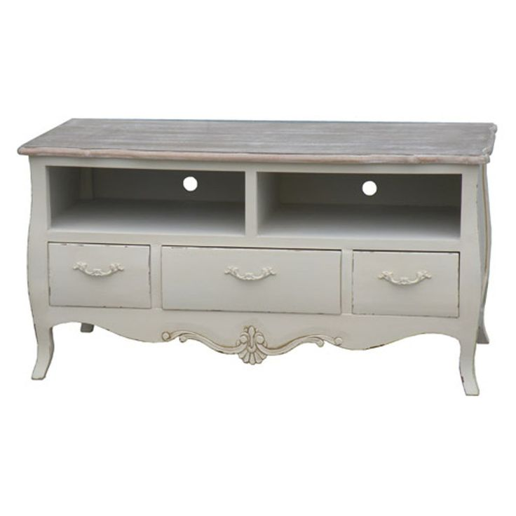 SHABBY CHIC TV STAND TABLE CABINET DVD WIDESCREEN LCD CREAM LOIRE FRENCH NEW