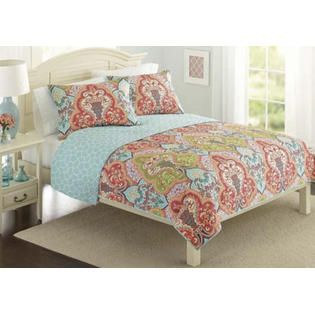 Island Living Turquoise Coral Tropical Beach Damask Full
