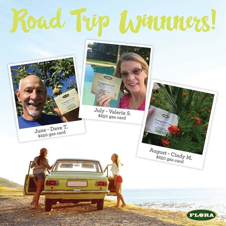 Congratulations to our #2016FloraRoadTrip winners! The $250 gas card winner for August goes to Cindy Malone! Email me at aneiser@florahealth.com to claim your prize! Thanks for participating! #FloraCompleteCare #giveaway #roadtrip