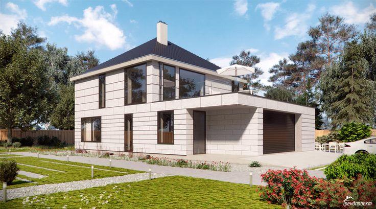 Тренд-208 Проект современного двухэтажного дома в южном стиле с террасой