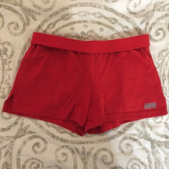 soffe pj shorts red pj shorts from soffe with a roll down waistband (last picture is with the waistband not rolled down). these are super cute and comfortable.  feel free to ask about offers and trades :) Soffe Intimates & Sleepwear Pajamas
