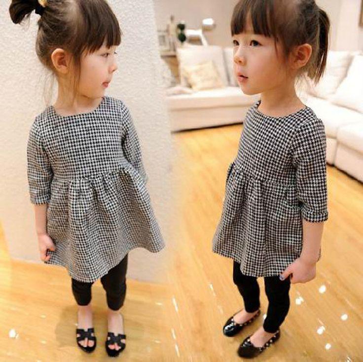 Детям детский Clothings девушки плед шею half-рукава платья 2 т 3 т 4 т 5 т 6 7 ребенок девочка черный белые одежды платье