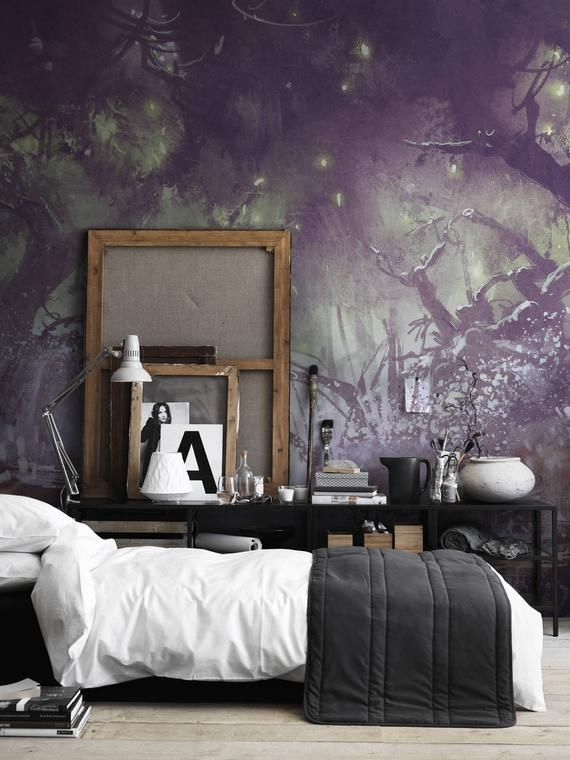 Enchanted Forest Fantasy Landscape Wall Covering Wall Decor Etsy Removable Wallpaper Wall Murals Landscape Walls