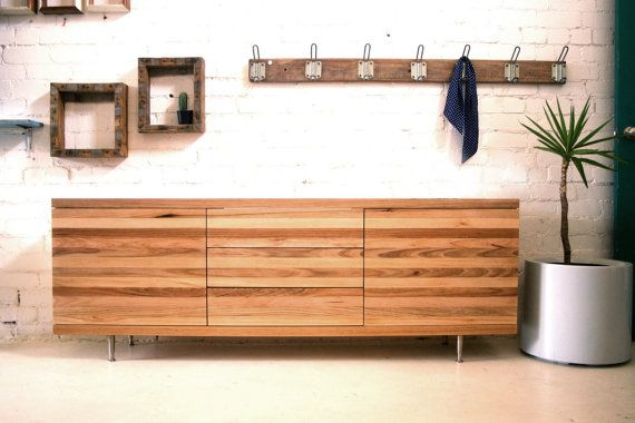 Custom wooden credenza sideboard unit made from recycled, reclaimed timber.