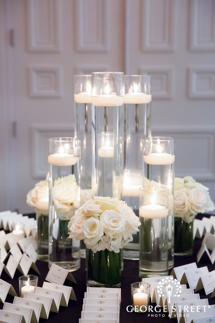 church wedding decorations candles%0A Floating candles in tall clear vases