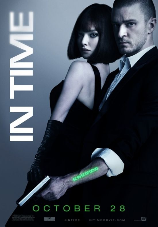 Justin Timberlake & Amanda Seyfried     In a future where people stop aging at 25, but are engineered to live only one more year, having the means to buy your way out of the situation is a shot at immortal youth. Here, Will Salas finds himself accused of murder and on the run with a hostage - a connection that becomes an important part of the way against the system.