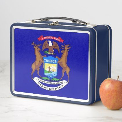 Metal Stainless Lunchbox with Michigan flag - kids kid child gift idea diy personalize design