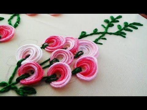 Pom pom flower stitch | Flores con flecos | Hand embroidery - YouTube