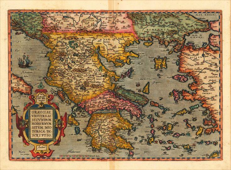 Graeciae Universae Secundum Hodiernum Neoterica Descriptio. Iacobo Castaldo Pedemontane.Αμβέρσα, Christopher Platin αρχικής [εκατ. χάραξης χαλκού 1598] 35 X 49.8, που δημοσιεύεται 1598 σε μια γαλλική έκδοση του «Theatrum Orbis Terrarum»