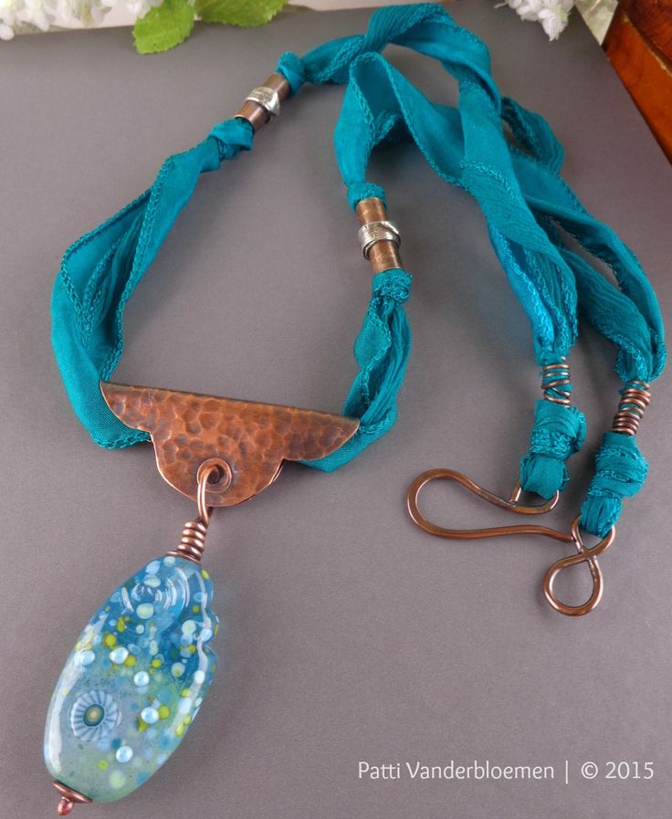 Calming Waters -Artisan Lampwork, Copper, and Teal Silk Necklace | Handcrafted Jewelry by Patti Vanderbloemen