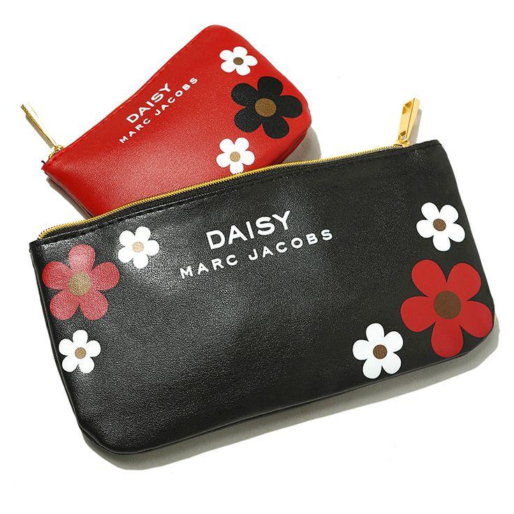 Gratis Pengiriman Fashion 2 Pieces dari 1 set PU Hitam Merah dengan Bunga Pola Tas Wanita Makeup Tas Mencuci Tas Penyimpanan Kosmetik ZZ036