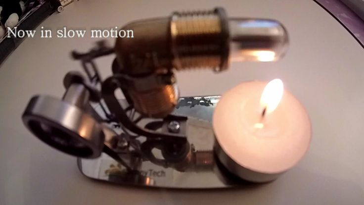 How to use free energy from candle to run stirling engine. Cool Fast Mot...
