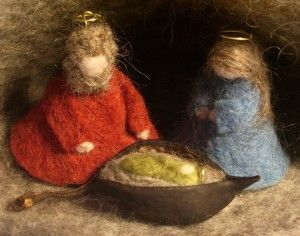 needle felted nativity by Anna Branford