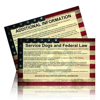 ADA Federal Service Dog Law Card - Federal Service Dog Laws. Pack of ADA Cards for you to had out about Service Dogs rights. Vests For Service Dogs!