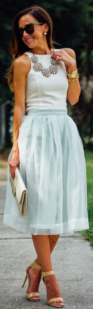 Chicwish Mint Organza Midi A-skirt by Sequins & Things