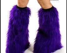 Rave Fluffies púrpura calentadores de piernas peludas