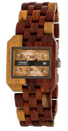 TENSE WATCH:  Newest addition to our Discoveries Collection.  Made of natural solid Dual-tone Sandalwood.  Sizable to fit all.   Comox - Model B5100I ~ $199
