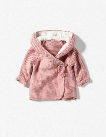 baby girl jacket with sheepskin hood
