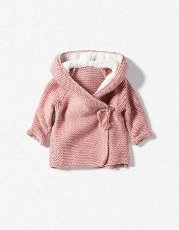 baby girl jacket with sheepskin hood