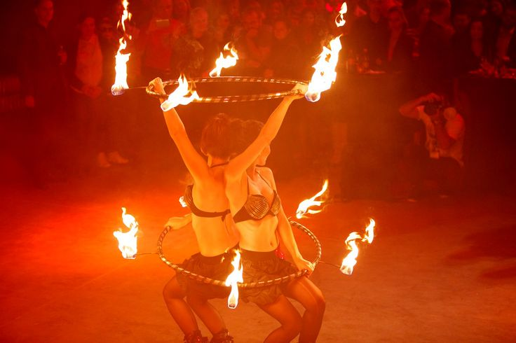 Sexi Fire Hula Hoops - audience looking at Anta Agni firedancers during their FIRE Show. http://antaagni.com/fire-show/