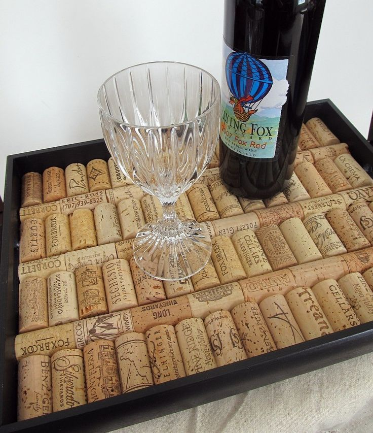 Black wine cork serving tray housewarming wedding for Decorating with wine corks
