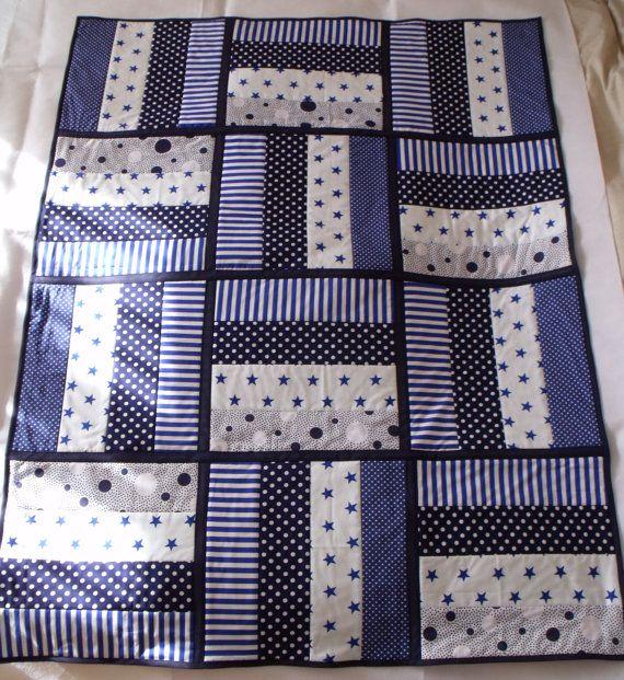 Marine jet matelassé, disparate, couette bleu, emmailloter couverture, bleu et blanc, tapis de jeu bébé, env. 39 « x 52 »