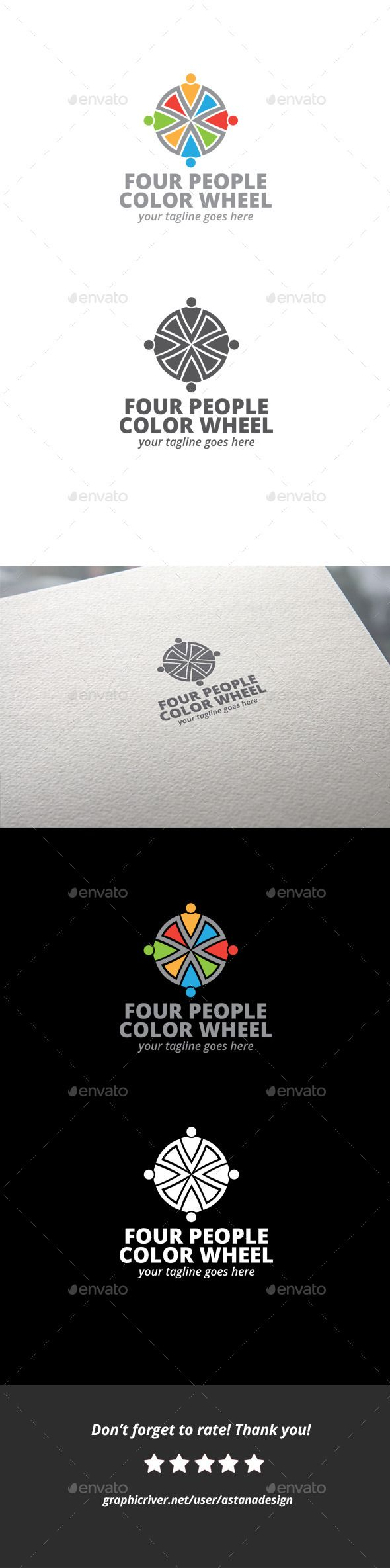Four People Color Wheel  - Logo Design Template Vector #logotype Download it here: http://graphicriver.net/item/four-people-color-wheel-logo/10730871?s_rank=998?ref=nexion