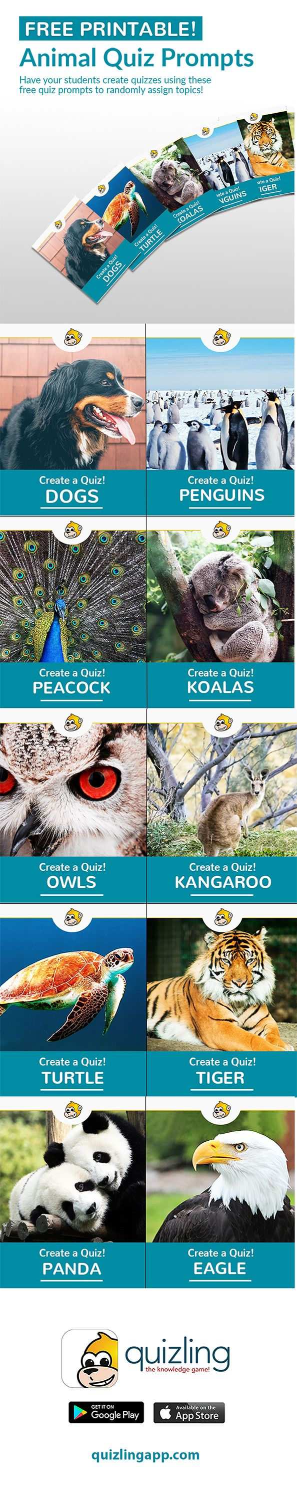 Is your class learning about animals? Have your students create quizzes using these free quiz prompts to randomly assign topics!This is perfect for parents looking for fun activities for their children at home too.