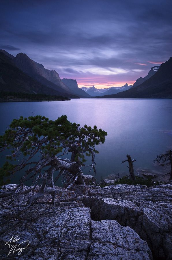 Glacier National Park's St. Mary Lake, Montana, USA at twilight on a summer evening.