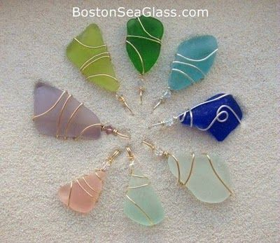 Boston Sea Glass    Colorful Pendants accented with 14kt Gold and Sterling Silver   pretty jewelry