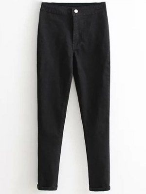High Waist Skinny Tapered Jeans - Black