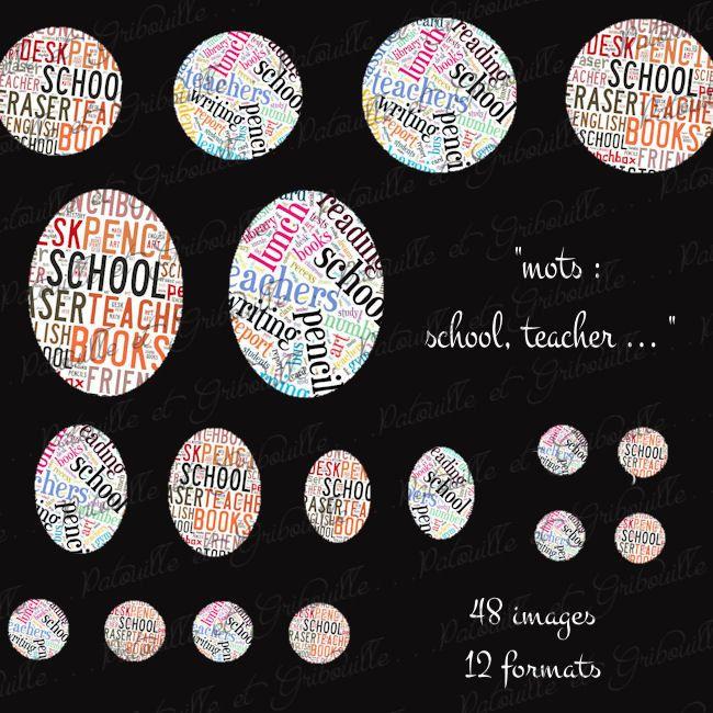 48 images digitales pour cabochon thème rentrée scolaire mots anglais school teacher ... : Images digitales pour bijoux par patouille-et-gribouille