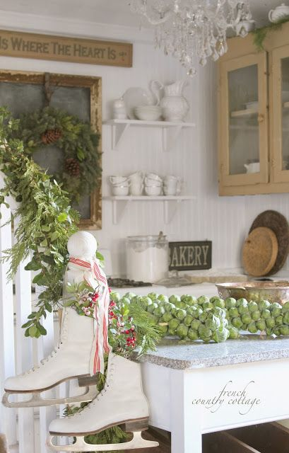 A French Country Christmas calls for lots of white, fresh greenery and nostalgic touches!