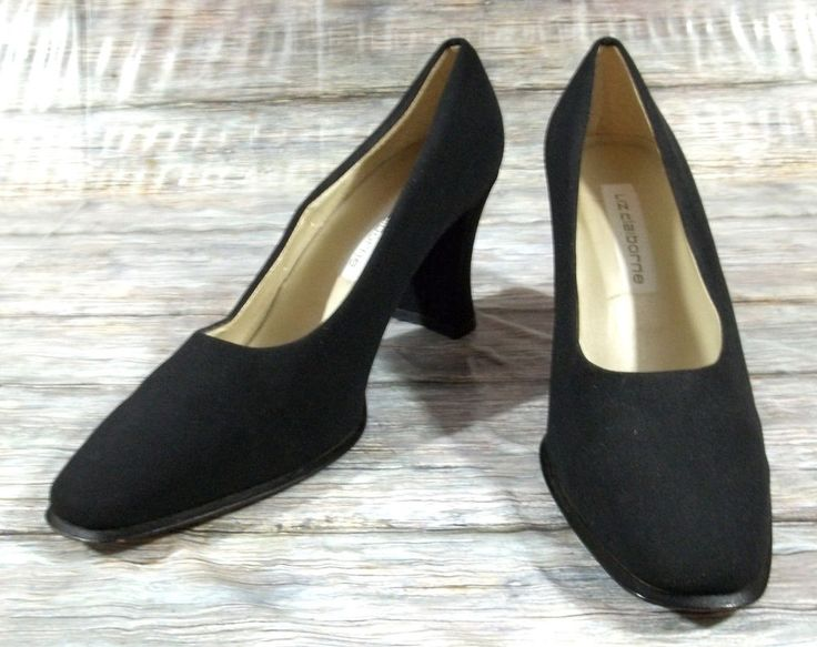 Liz Claiborne Heels Womens Size 8.5 M Solid Black Fabric Slip On Pumps Shoes…
